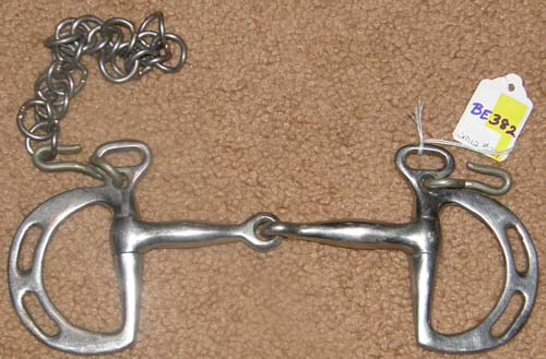 "4 3/4"" Jointed Snaffle Mouth Kimberwicke Slotted Uxeter Kimberwick Bit with Curb Chain"