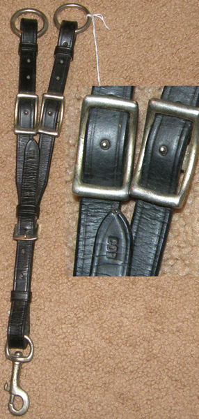 Adjustable Buckle In Running Martingale Attachment with Snap Black Cob