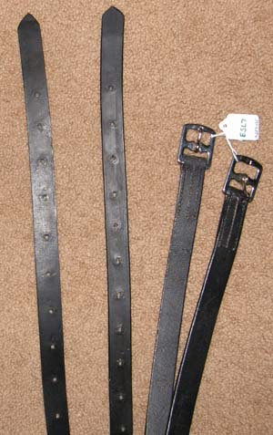 "English Stirrup Leathers English Leathers Black 1"" x 52"""
