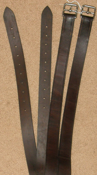 "Wide English Stirrup Leathers English Leathers Dark Brown 1 1/4"" x 58"""