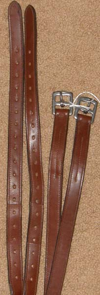 "English Stirrup Leathers Doubled & Stitched Stirrup Leathers 7/8"" x 56"" Medium Brown"