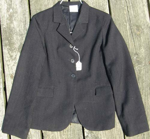 Devon Aire Concour Elite English Jacket, Hunt Coat, Riding Coat Childs 16 Black Pinstripe