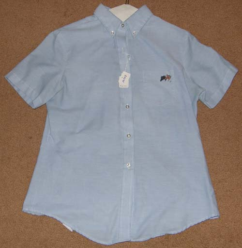 Dee Cee Oxford Shirt Short Sleeve English Riding Shirt Hand Painted Horse Heads Ladies 13/14 Lt Blue