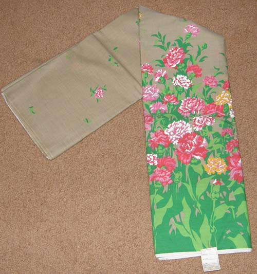 Tan with Carnations Floral Print Fabric Cotton/Poly Dress Material Remnant