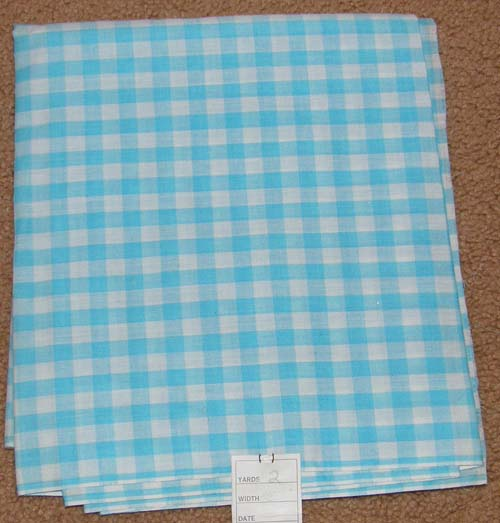 Light Aqua Turquoise Gingham Print Fabric Cotton/Poly Dress Material Remnant