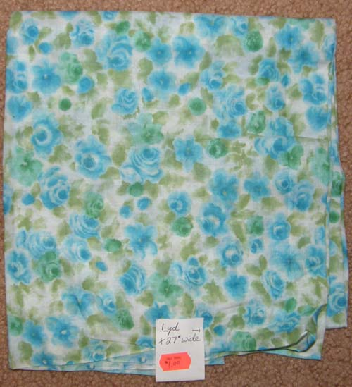 Vintage Blue & Green Floral Fabric Cotton Dress Material Remnant