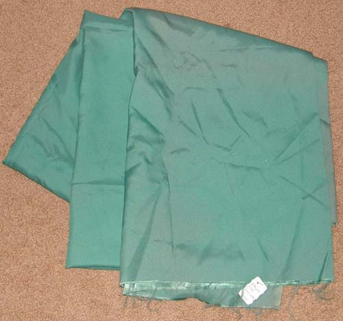 Vintage Green Satin Fabric Cotton Dress Material Remnant
