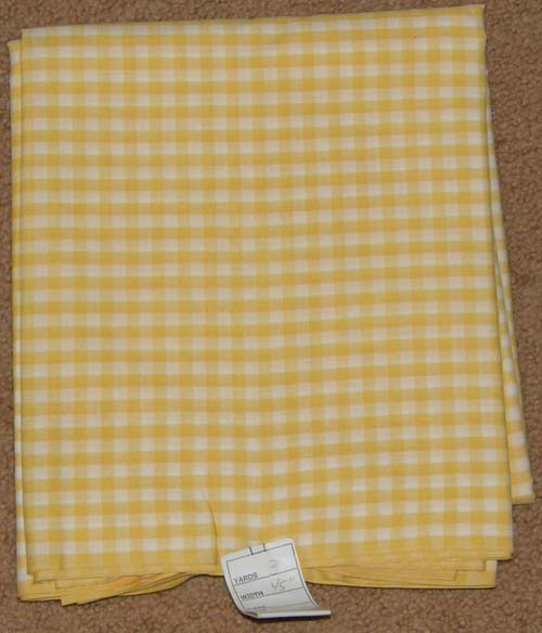 Yellow Gingham Print Fabric Cotton/Poly Dress Material Remnant