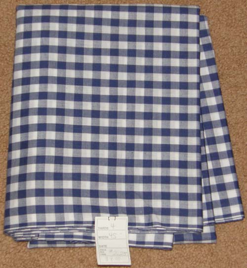 Navy Blue Gingham Print Fabric Cotton/Poly Dress Material Remnant