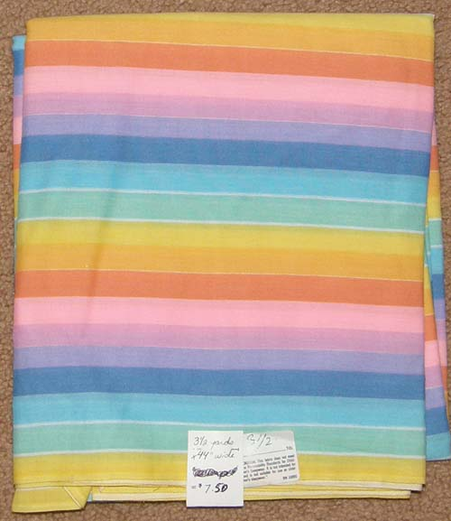 Pastel Rainbow Print Fabric Cotton/Poly Dress Material Remnant