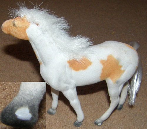 Flocked Horse Fur Mane Plastic Toy Horse Palomino Pinto Paint Standing Horse