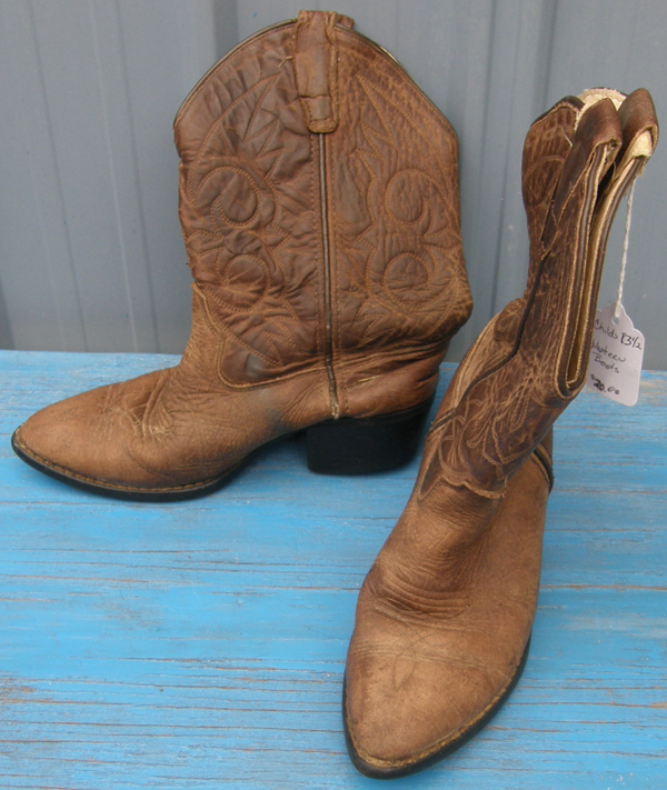Old West Western Boots Childs 13.5 Cowboy Boots 13 1/2 Distressed Brown