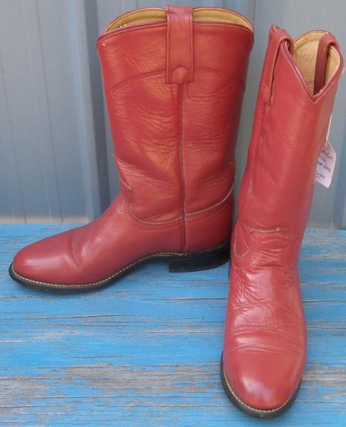 Vintage Acme Western Boots Cowboy Boots Pull On Roper Boots Brick Reddish Brown Ladies 6 M