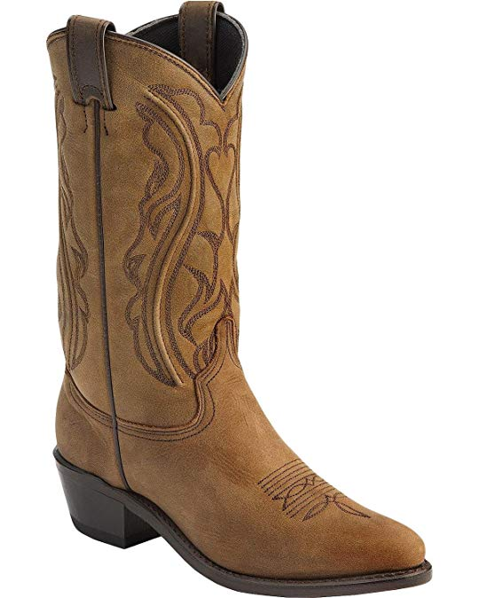 Abilene Sage Boots Longhorn Western Boots Cowboy Cowgirl Boots Distressed Brown Ladies 5 1/2 M