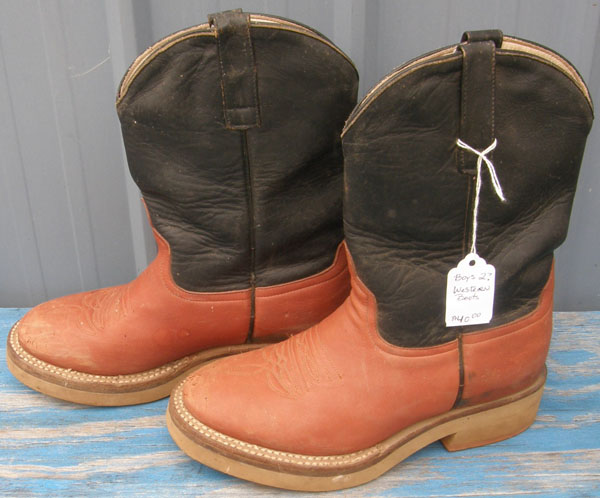 Anderson Bean Crepe Sole Cowboy Boots Western Boots Boys? 2 Reddish Tan/Navy Blue