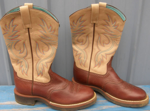 Ariat Heritage Stockman Saddle Vamp Western Boots Brown/Cream Cowgirl Boots Cowboy Boots Womens 6B