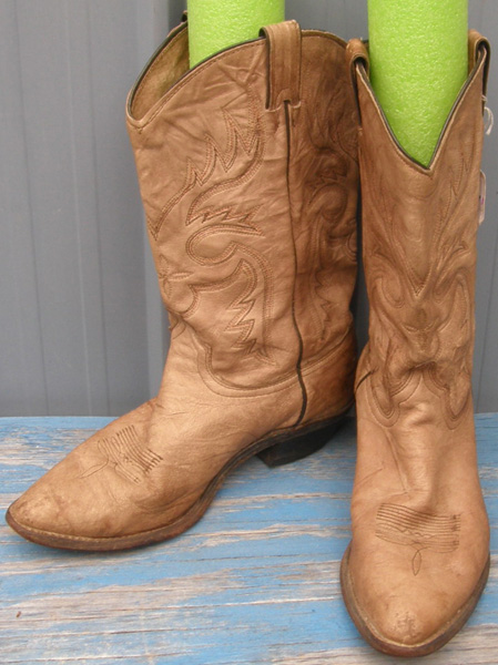 Abilene Boots Western Boots Cowboy Cowgirl Boots Distressed Brown Tan Ladies 8