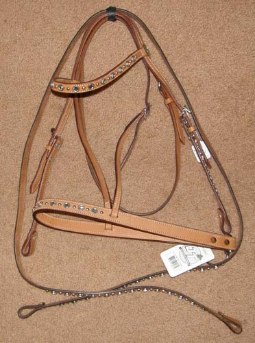 Royal King Western Headstall Western Bridle Roping Reins Gaming Reins & Roper Noseband Set Lt Oil with Bling Crystals