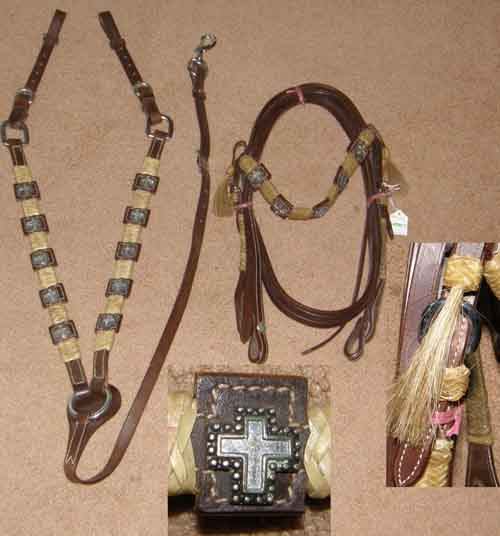 Showman Brown Leather with Braided Rawhide Horsehair Tassels & Black & Silver Cross Concho Trim Western Headstall Silver Trim Western Bridle Split Reins & Breast Collar Set