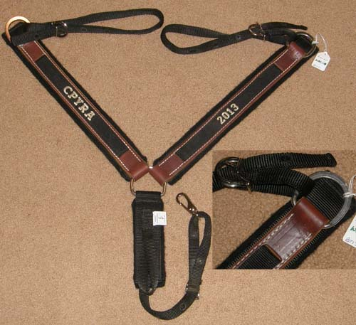 Parker Nylon & Leather Western Breast Collar Center Ring Felt Lined Straight Western Breastcollar Black/Brown Horse
