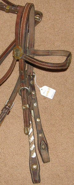 Vintage Tory Leather Western Headstall Center Ring Breastcollar Silver/Gold Trim Western Bridle Shaped Breast Collar Set Silver Conchos Brown Horse
