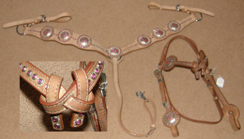 Showman Western Headstall Breast Collar Set Pink Rhinestones Silver Star Concho Center Bling Set Shaped Western Bridle Knotted Brow Lt Oil Center Ring Leather Shaped Breastcollar Set Horse