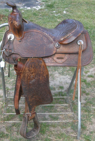 "Vintage Simco 15"" Tooled Leather Western Saddle Trail Saddle Brown"