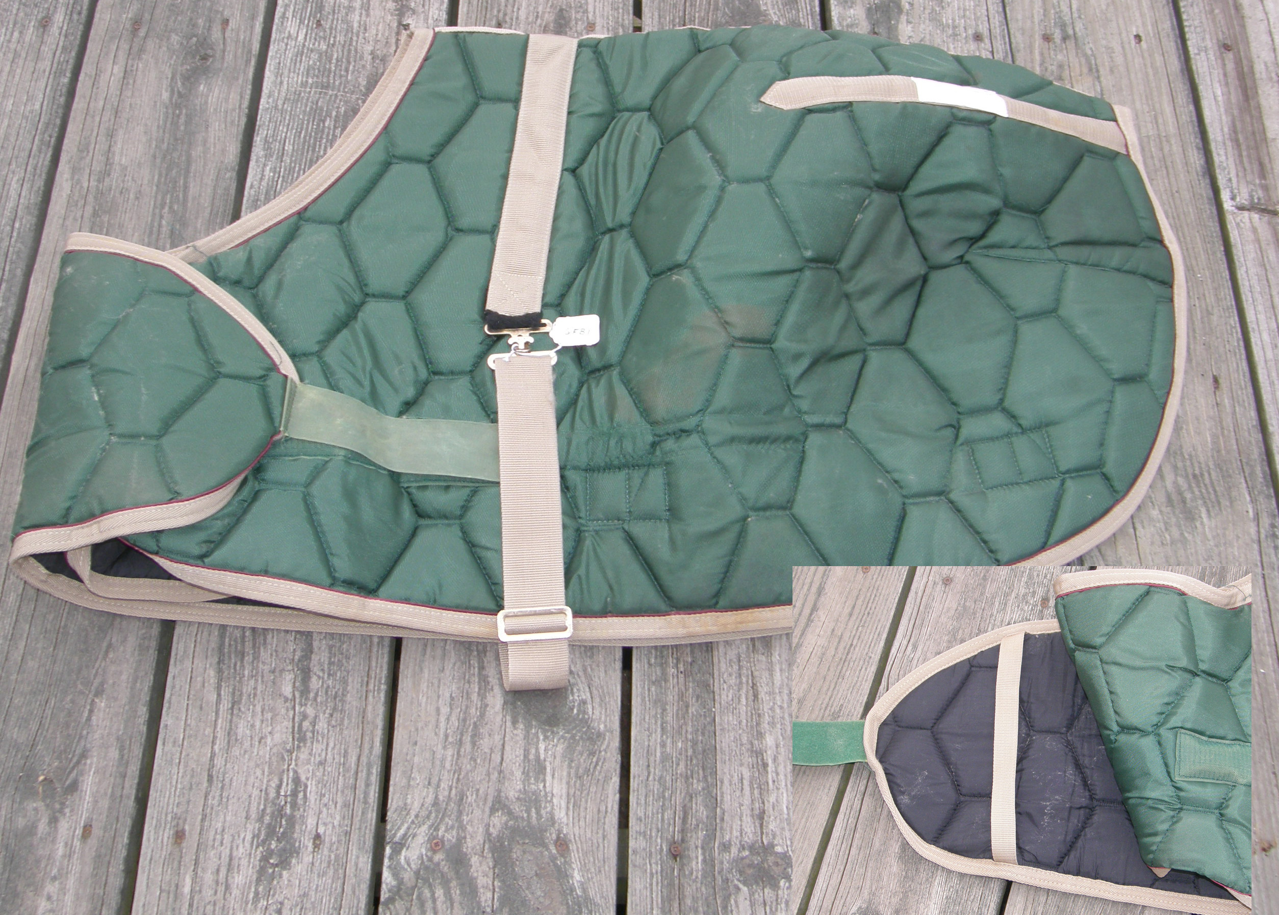 "41"" - 46"" Adjustable Front Quilted Foal Blanket Pony Blanket Winter Stable Blanket Hunter Green/Grey"