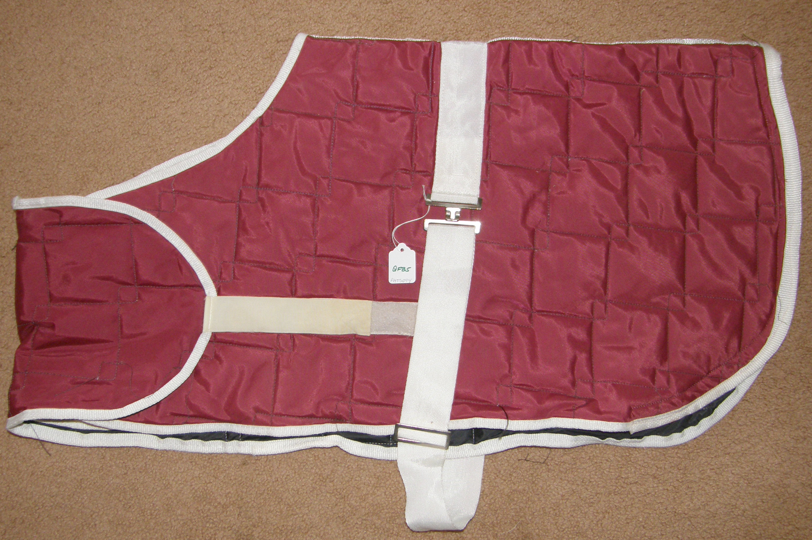 "28"" - 42"" Adjustable Front Quilted Foal Blanket Miniature Horse Blanket Pony Blanket Winter Stable Blanket Burgundy/White"