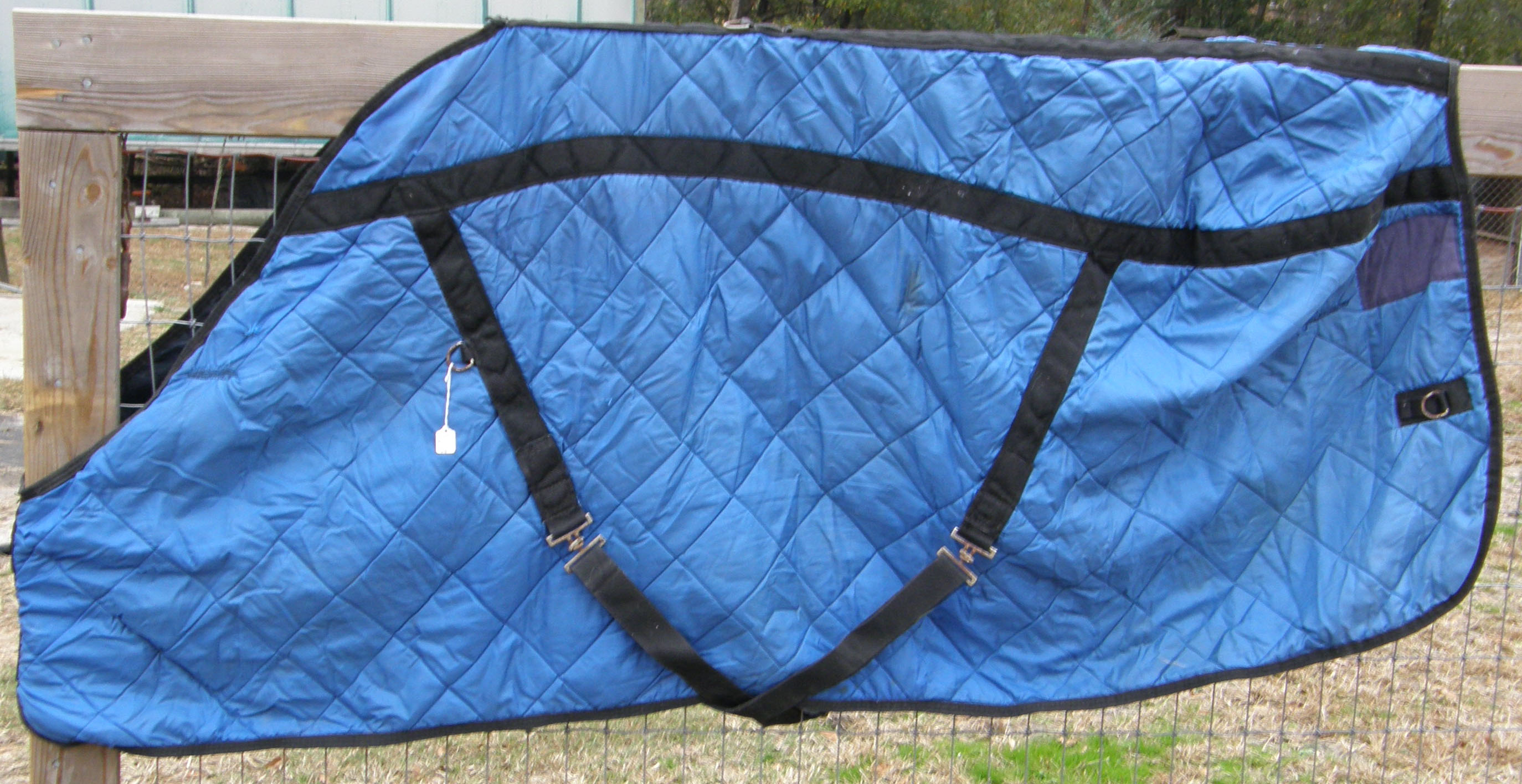 "74"" CF Quilted Nylon Stable Blanket Horse Blue/Black"