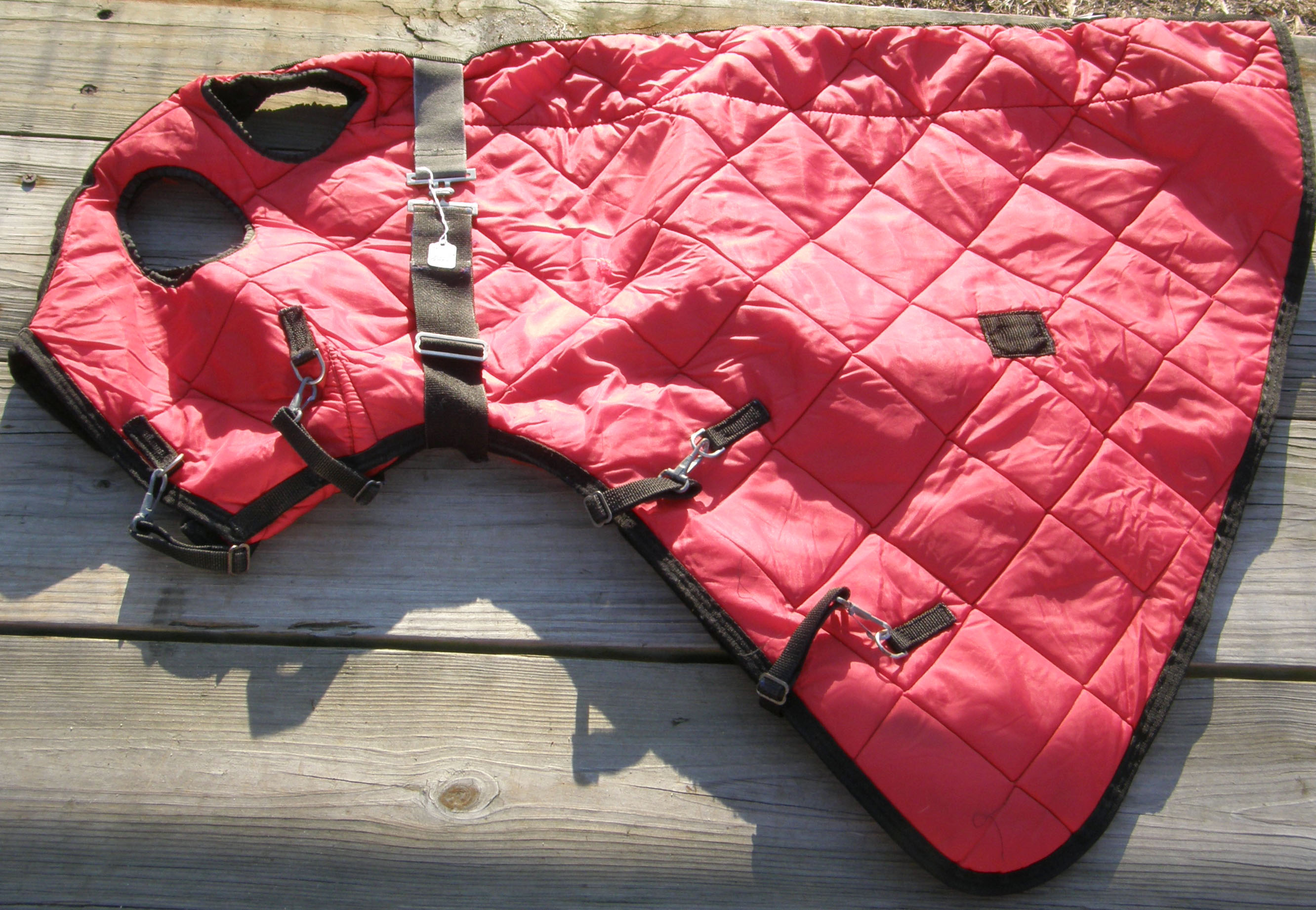 "74""-76"" CF Quilted Stable Blanket & Matching Quilted Hood Cutback Withers Winter Black Horse Red/Black"