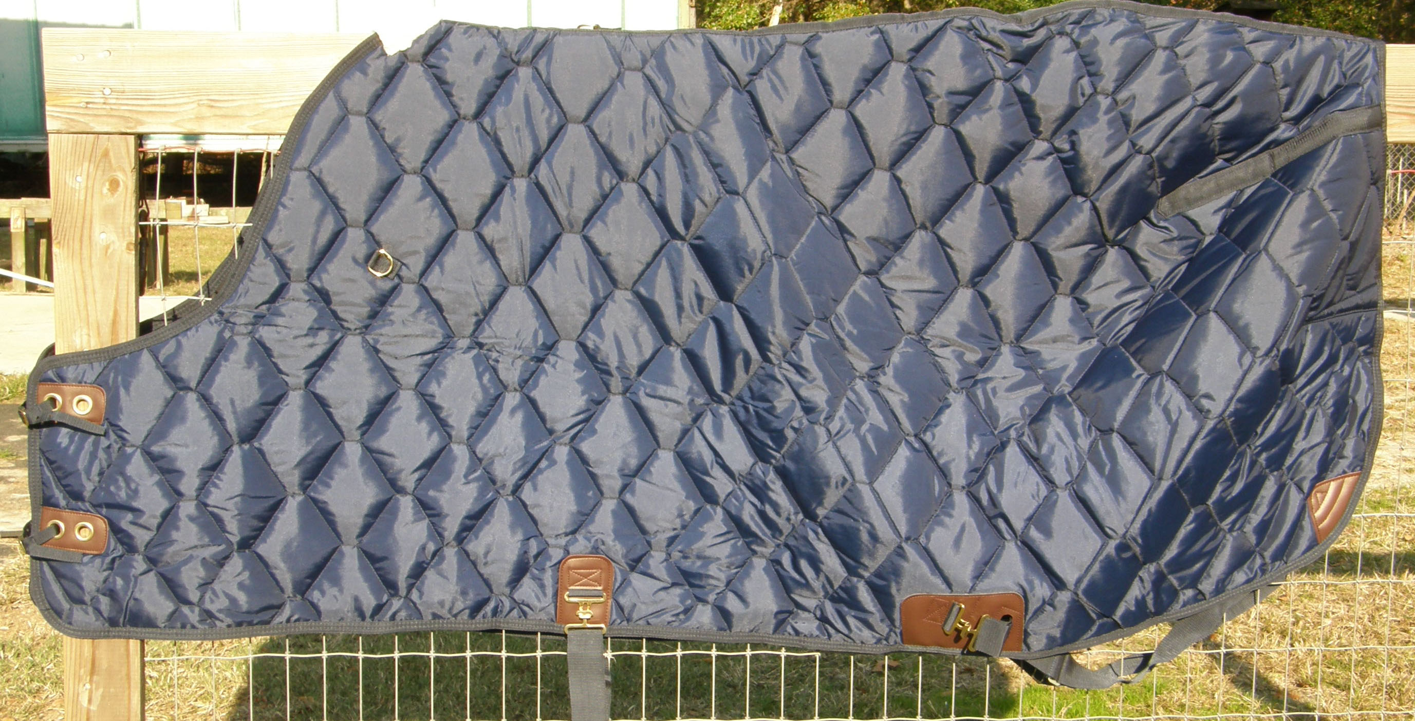 "68"" OF Custom Made Saddlery Quilted Turnout Style Stable Blanket Winter Blanket Horse Navy Blue"