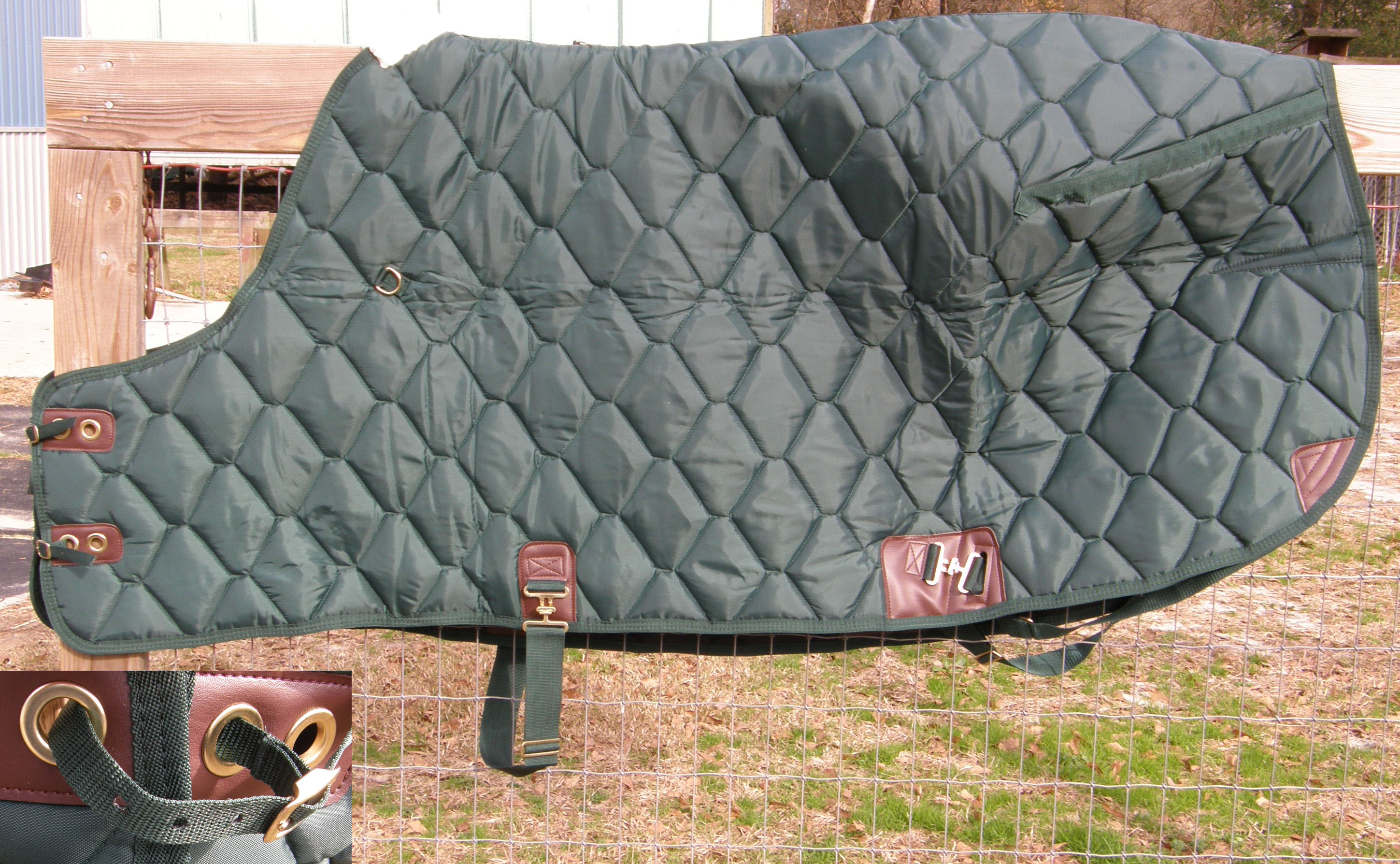"74"" OF Custom Made Saddlery Quilted Stable Blanket Turnout Blanket Horse Winter Blanket Hunter Green"