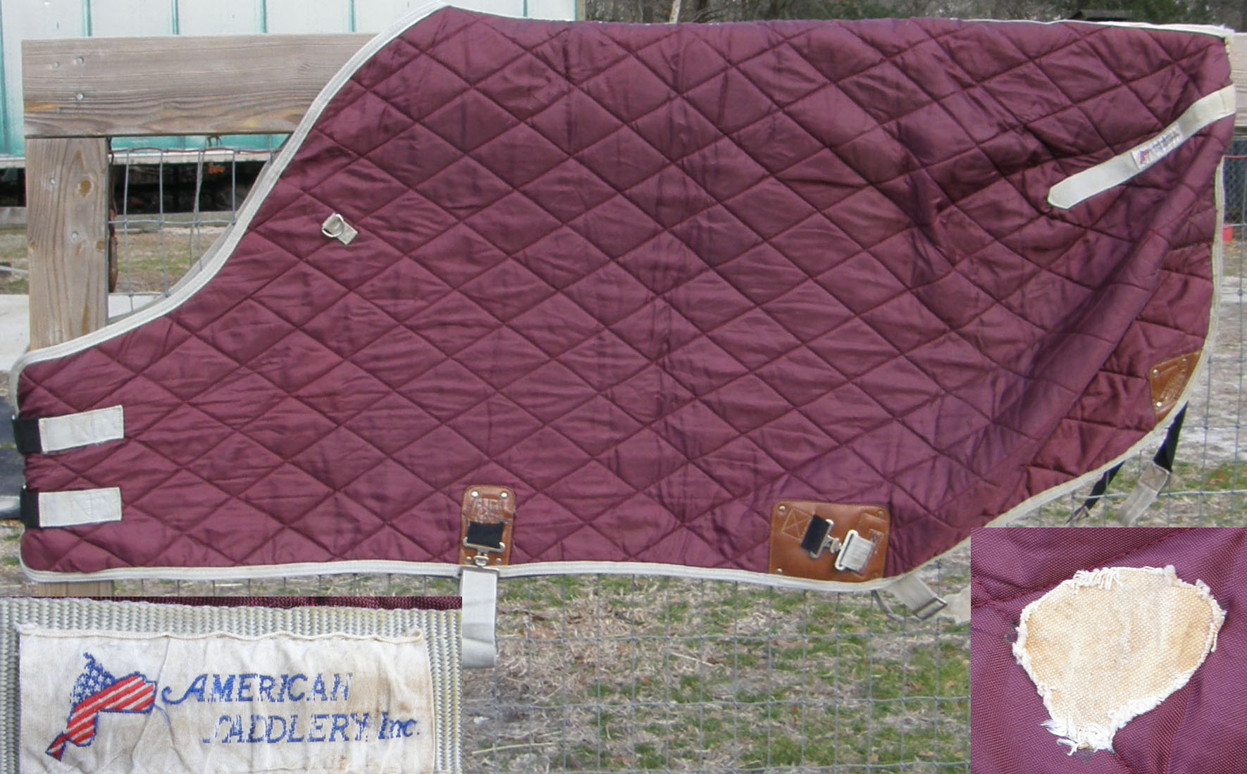 "74"" - 76"" OF QH Cut Quilted Stable Blanket Turnout Blanket Cutback Withers Horse Burgundy/Grey"