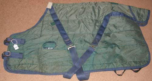 "46"" OF Dover Riders International Quilted Stable Blanket Turnout Blanket Foal Miniature Horse Green/Navy Blue"