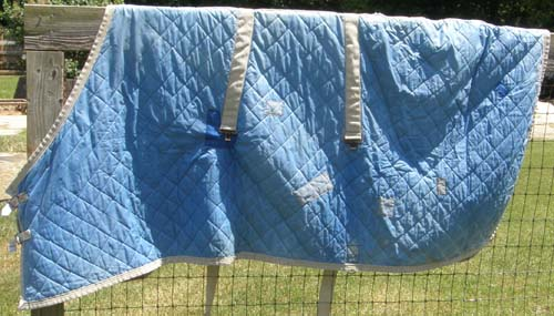 "Curvon 74"" OF Quilted Nylon Stable Blanket Flannel Lined Horse Blanket Lt Blue"