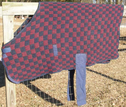"62"" OF Quilted Dress Sheet Pony Stable Blanket Liner Knit Rug Bath Sheet with Belly Band Burgundy/Navy Blue Check"
