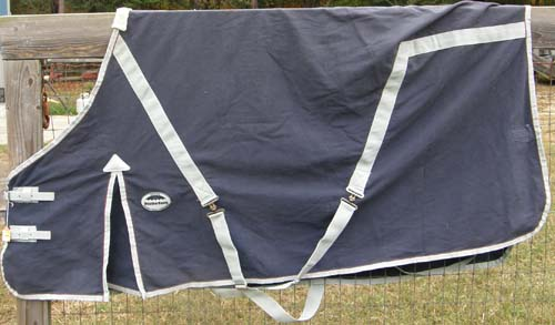 "72"" OF WeatherBeeta Continental Sheet Cotton Turnout Sheet with Shoulder Gussets Horse Stable Sheet Navy Blue/Silver"