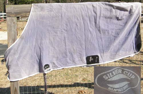 "74"" - 76"" OF SCS Silver Cup Supreme Stable Sheet Heavy Cotton Turnout Sheet Horse Blue"