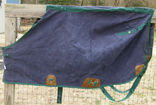 "74"" OF BMB Cotton Duck Turnout Sheet Canvas Duck Water Resistant Sheet Stable Horse Sheet Navy Blue/Green"