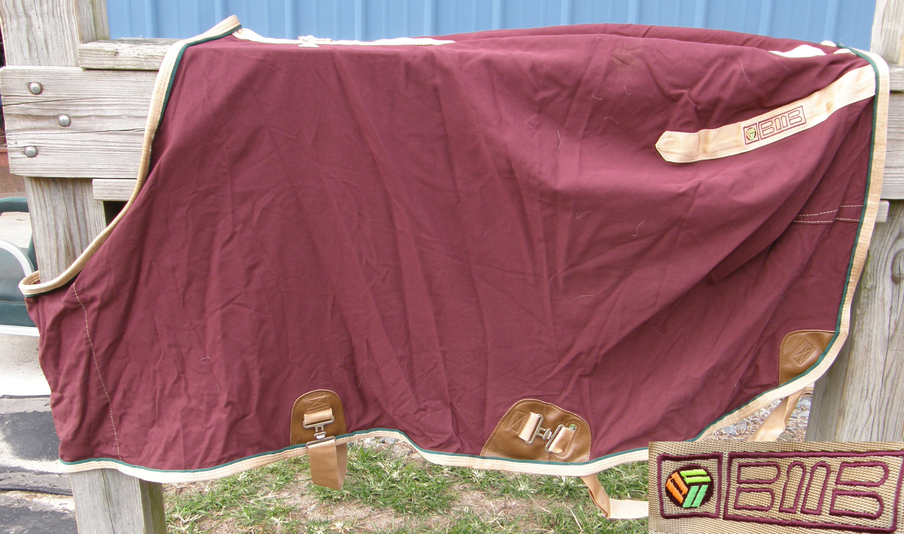 "68"" CF BMB Turnout Style Stable Sheet Cotton Duck Sheet Small Horse Burgundy/Tan"