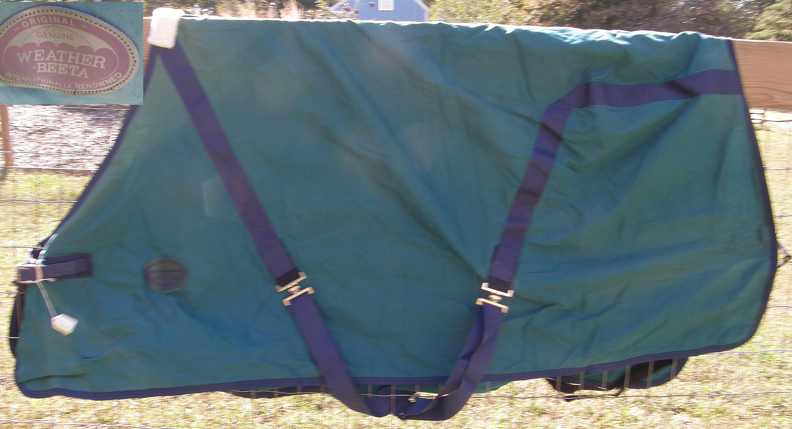 "68"" OF WeatherBeeta Turnout Style Sheet Horse Hunter Green/Navy Blue"