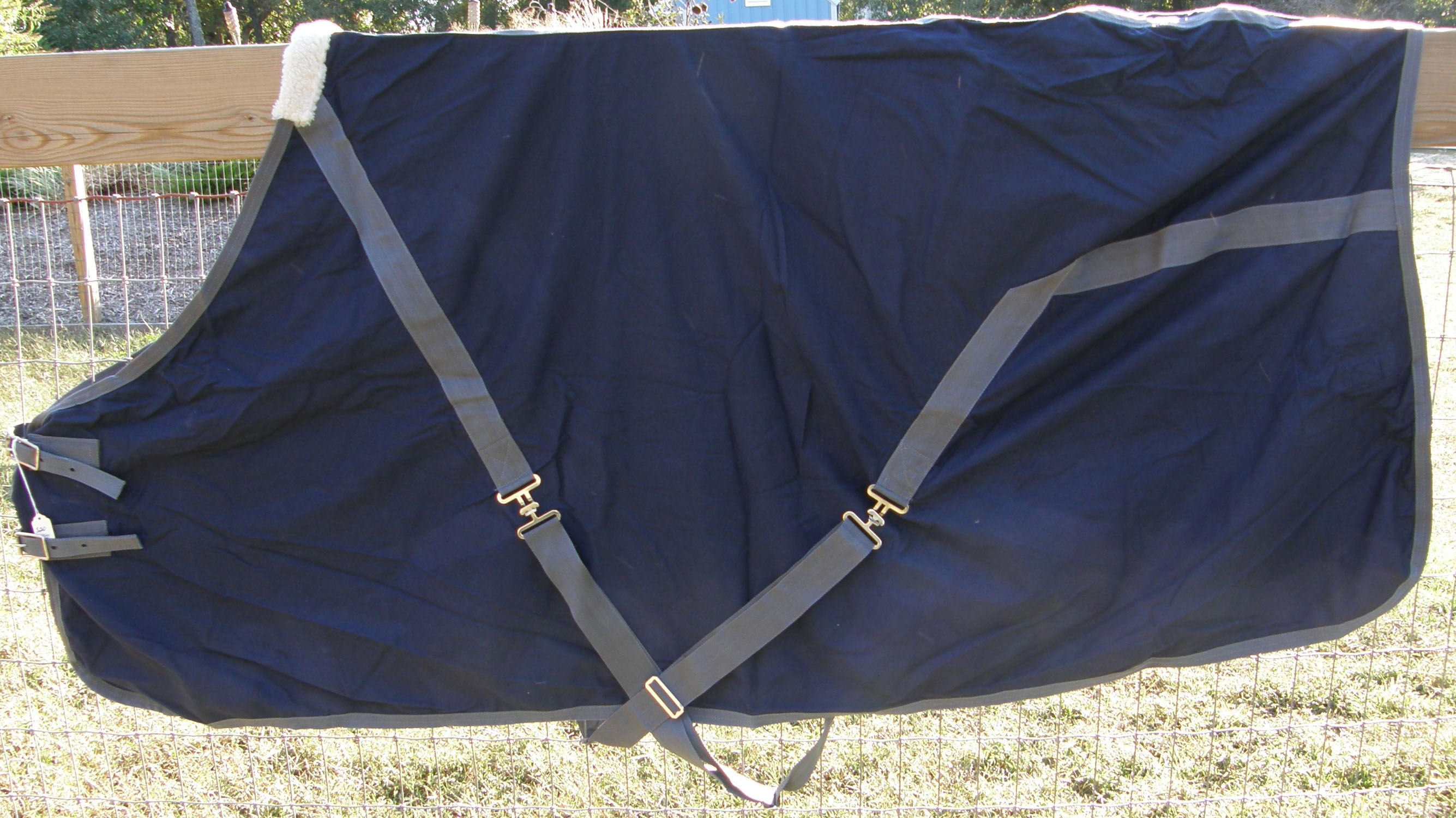 "72"" OF Custom Made Saddlery Turnout Sheet Cotton Duck Stable Sheet Navy Blue/Grey"