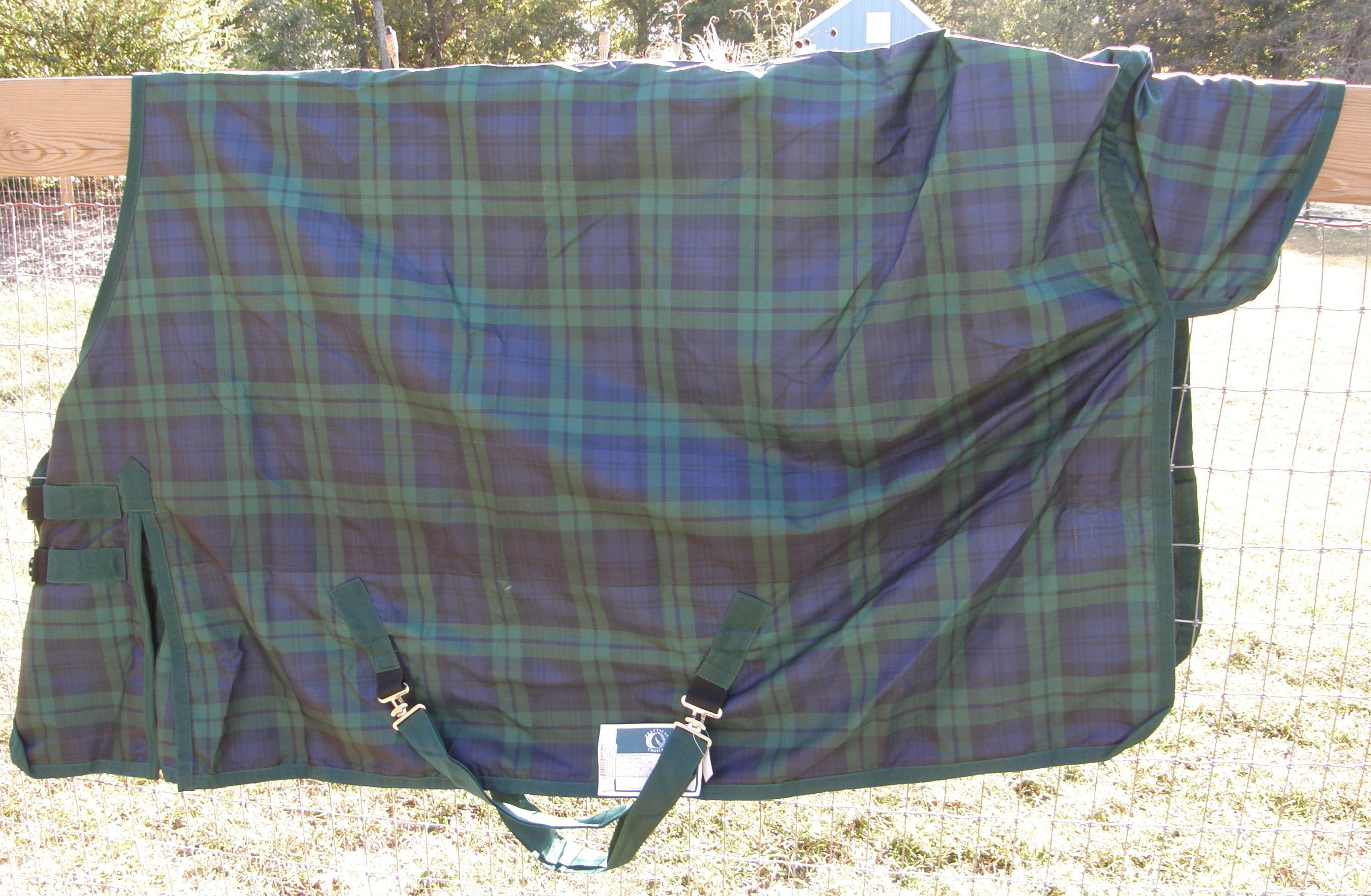 "70"" OF Practical Choice Waterproof Breathable Turnout Sheet Shoulder Gusset Hunter Green Plaid"