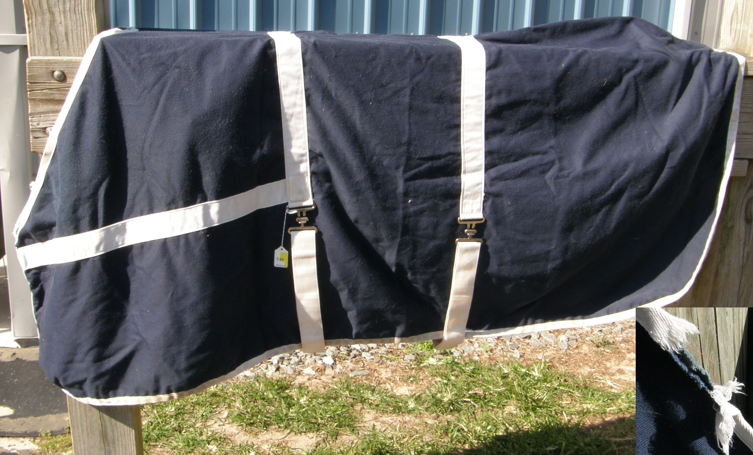 "72"" CF Heavy Lined Stable Sheet Light Weight Stable Blanket Horse Navy Blue/White"