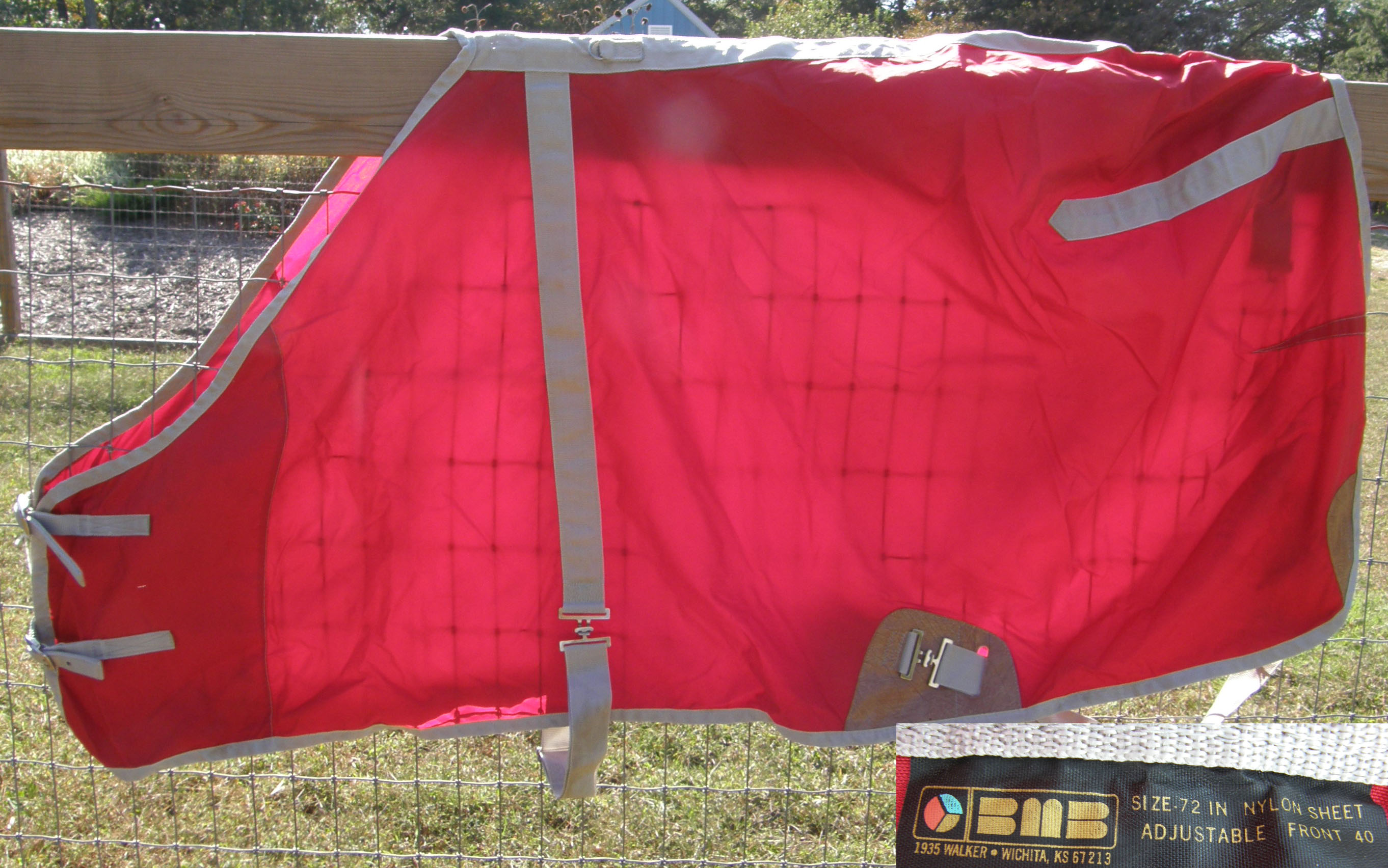 "72"" OF BMB Nylon Turnout Sheet Stable Sheet Horse Red/Gray"