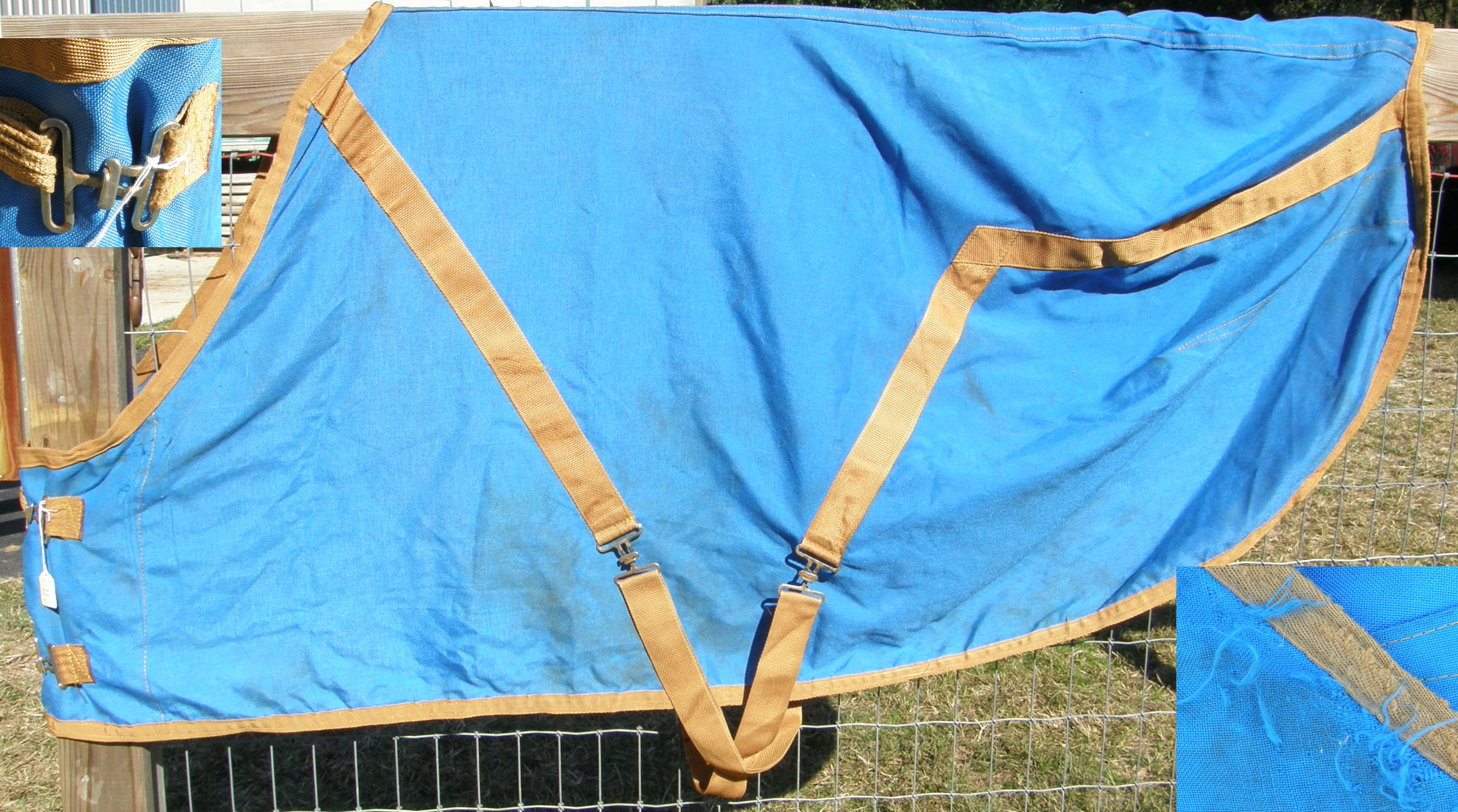 "72"" - 74"" OF Stable Sheet Horse Blue/Gold"