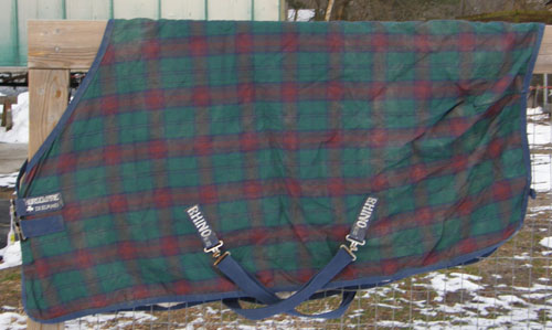 "66"" OF Rhino Original Lite Turnout Sheet Pony Small Horse Red/Green/Navy Plaid"