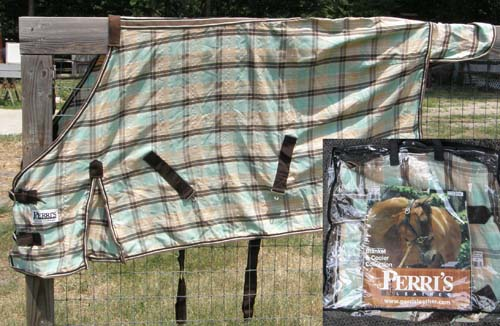 "66"" OF Perri's Plaid Dress Sheet Turnout Sheet Stable Sheet Pony Small Horse Green/Tan Plaid"