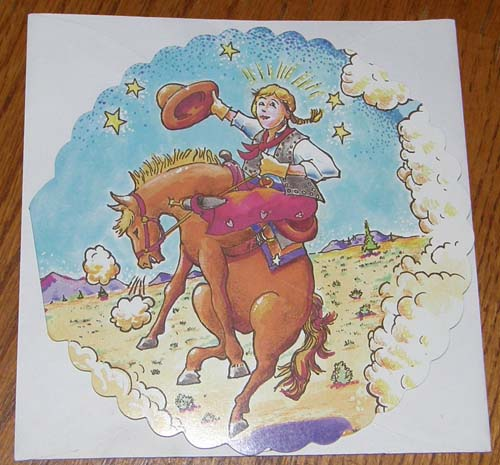Birthday Card Leanin' Tree Select Greeting Card Wild Wild West Cowgirl on Bucking Horse Brett Stokes